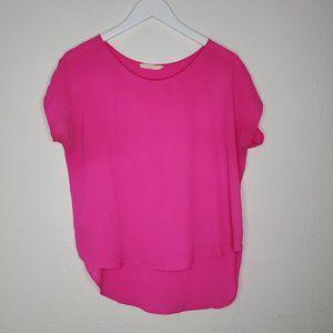 Lush Hot Pink Chiffon Cap Sleeve Blouse